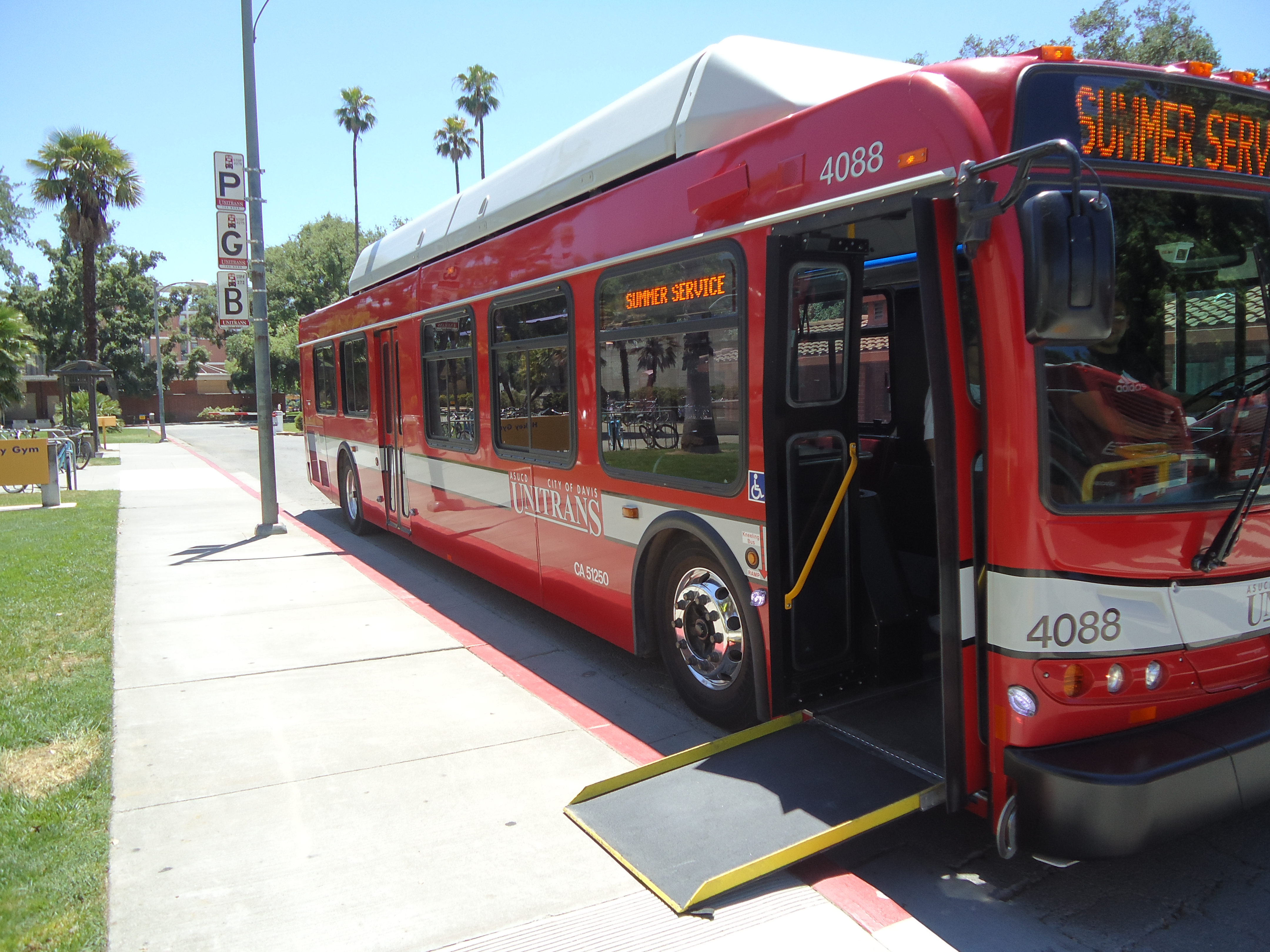 UC Davis bus with service ramp extended